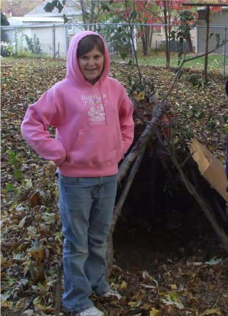 Kayla and her tepee