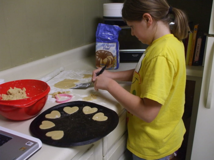 Kayla making her first batch of sugar cookies