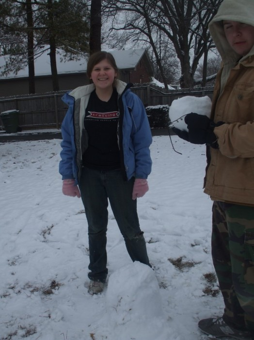 Kayla and robert playing in the snow