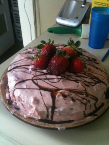 Chocolate Cake with Strawberry Cream Cheese Frosting