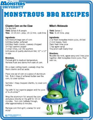 BBQ Recipes from Monsters University #monstersu
