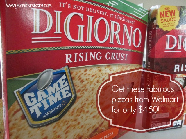 Right now Digiorno pizzas are on rollback from Walmart for only 4.50. Great price and good food #GameTimeGoodies #shop #cbias