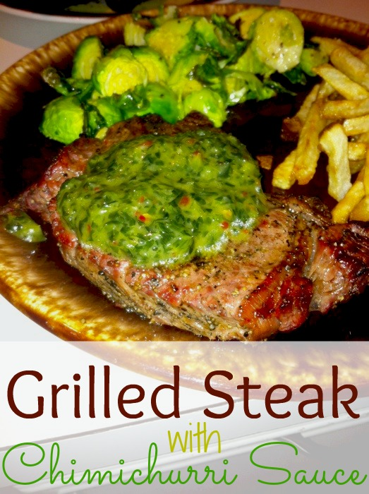 Grilled Steak with Chimichurri Sauce #15minutesuppers