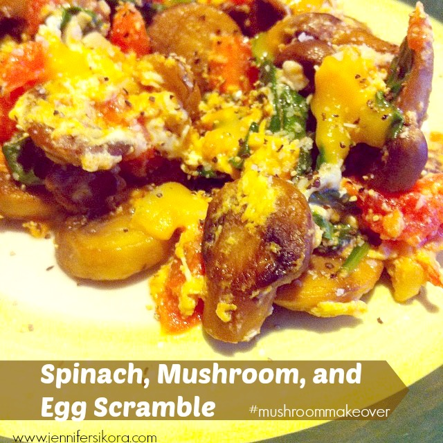 Spinach Egg and Mushroom Scramble