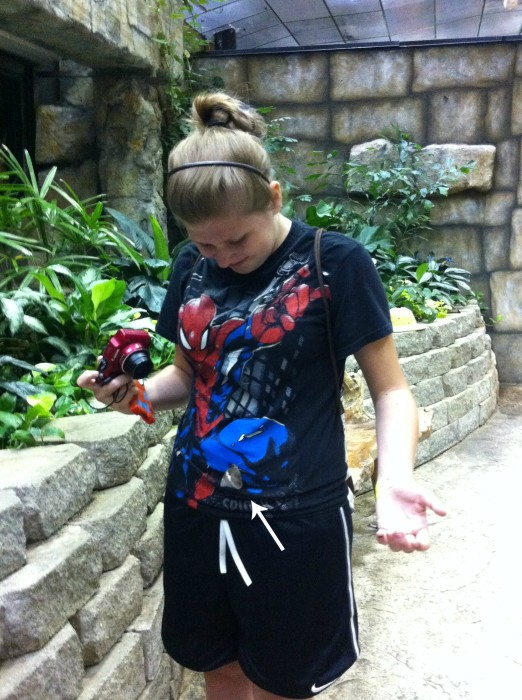 Kayla and her butterflies at Butterfly palace in Branson