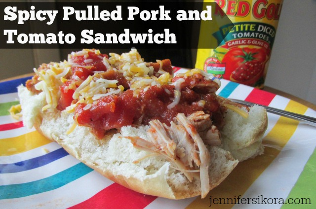 Spicy Pulled Pork and Tomato Sandwich +Other Delicious Crockpot Recipes from Red Gold Tomatoes