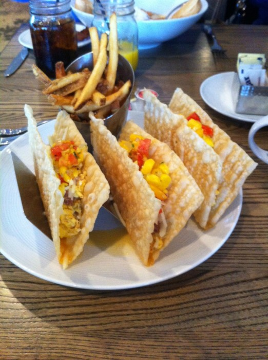 Breakfast tacos from the brick and spoon