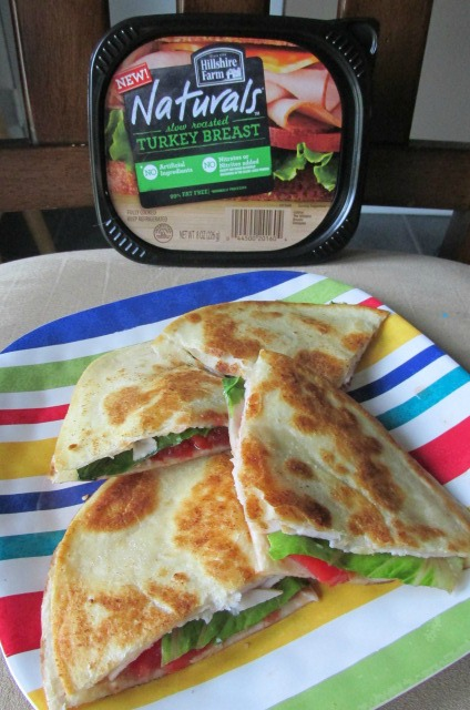 TLT  Turkey Lettuce and Tomato Quesadilla featuring Hillshire Farm Naturals Lunchmeat