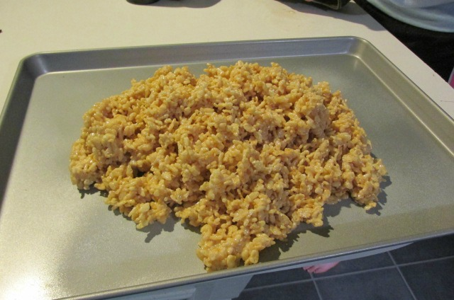 Turky Rice Krispie pour out on pan
