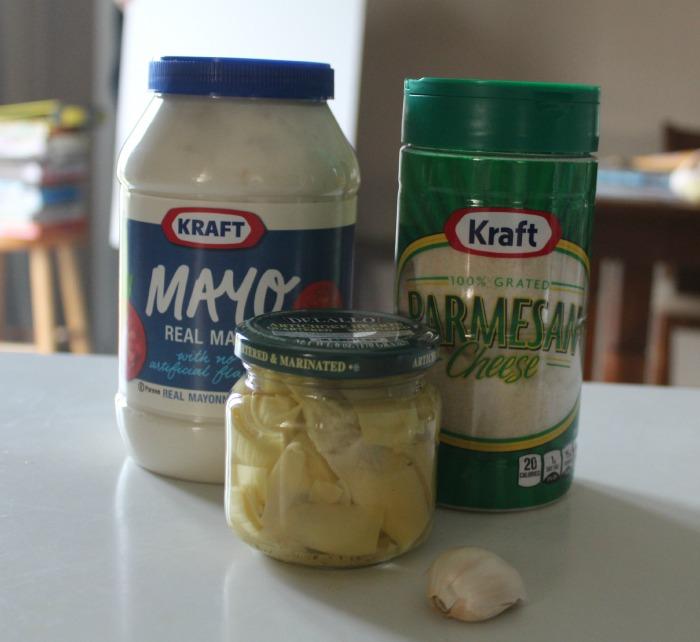 Ingredients for Hot artichoke dip