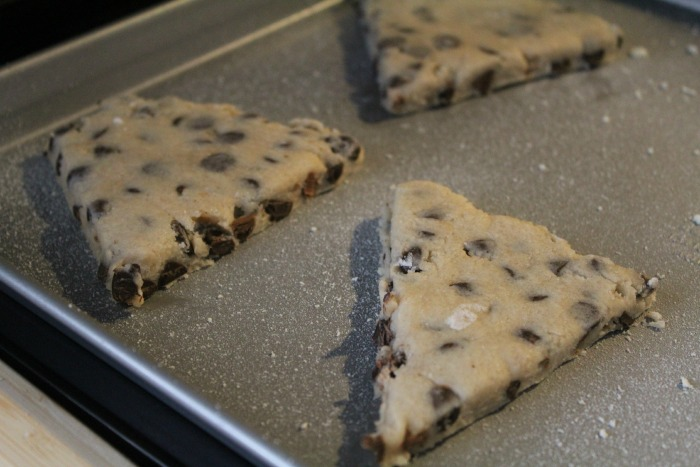 Chocolate Chip Scones on a Cookie sheet