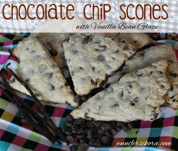 Chocolate Chip Scones with Vanilla Bean Glaze