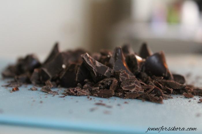 Chop your chocolate black bean brownies