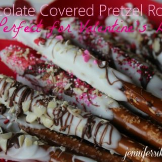 Chocolate Covered Valentine Pretzel Rods