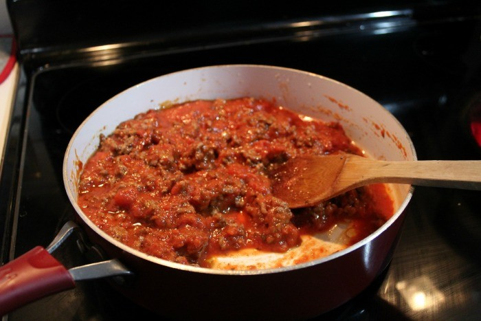 Baked Spaghetti meat and pasta sauce