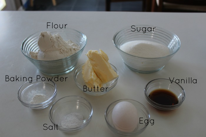 Ingredients for vanilla wafers