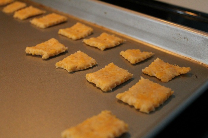 Crackers on a cookie sheets