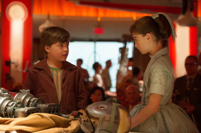 Disney's TOMORROWLAND..L to R: Young Frank (Thomas Robinson) & Athena (Raffey Cassidy)..Ph: Kimberley French..©Disney 2015