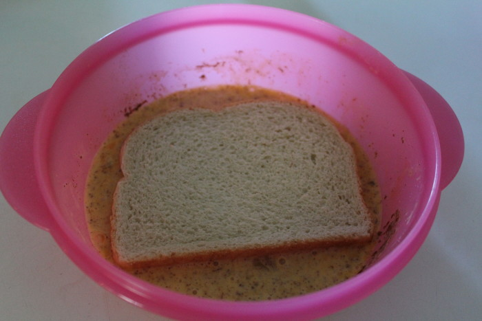 Brownberry Bread in egg mixture