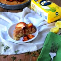 Emeril's Cornmeal Olive Oil Cake with Poached Peaches