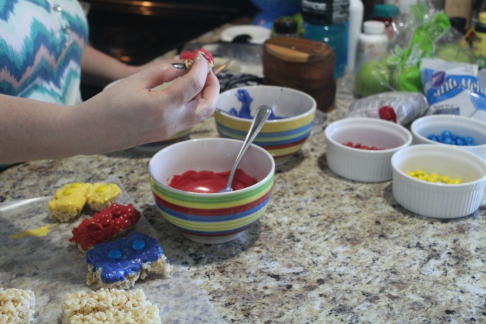 lego rice krispies dipped in chocolate
