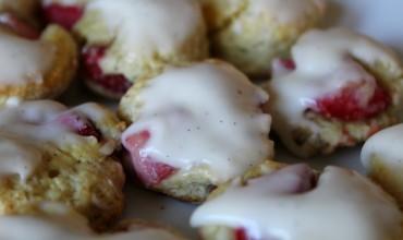Mini Strawberry Scones with Vanilla Bean Glaze