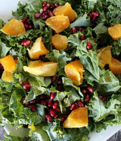 Kale, Pomegranate and Tangerine Salad – the perfect lunch after my walk