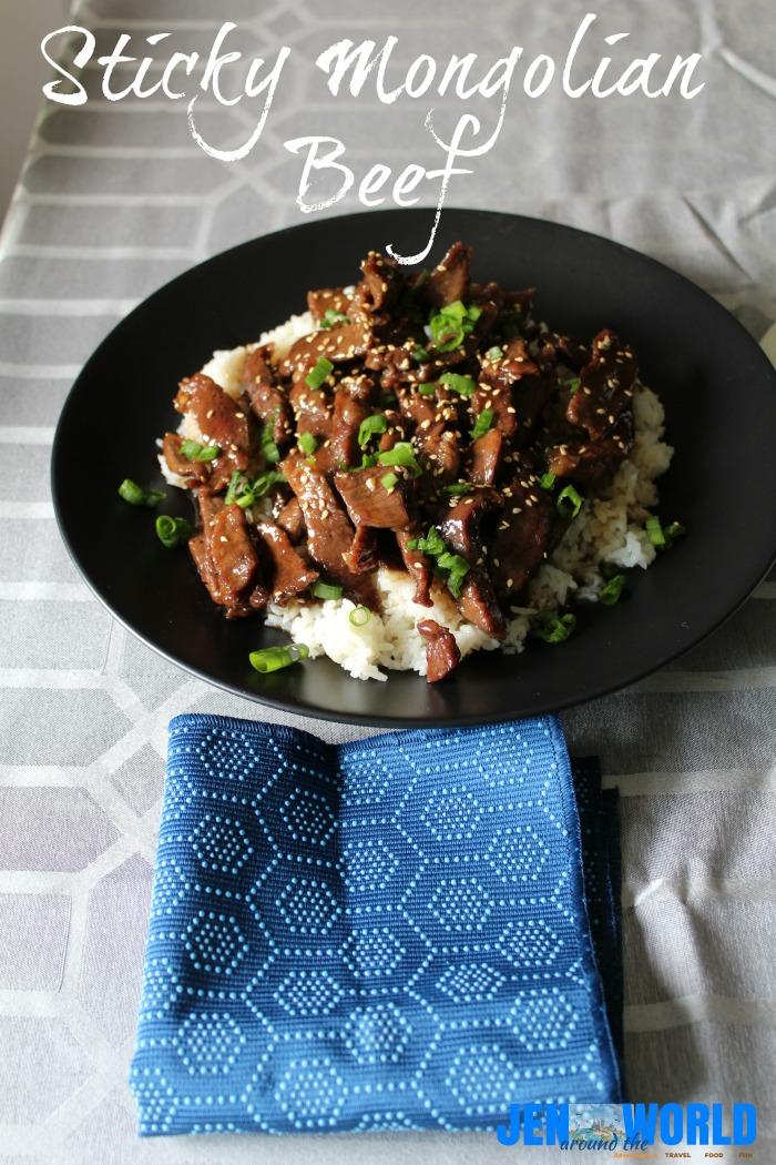 sticky mongolian beef