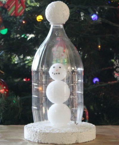 Create a Winter Snowman Scene from a 2-Liter Coca-Cola Bottle