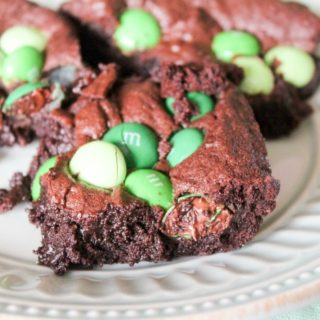 Mint M&M Brownies — the perfect St. Patrick's Day Treat — especially if you use my homemade brownie recipe