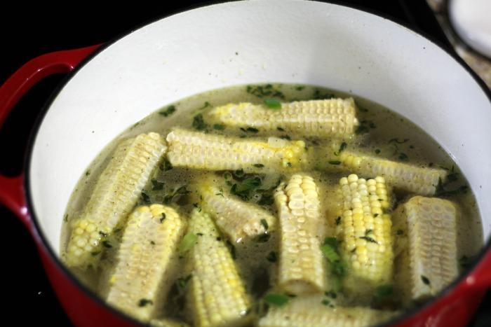 Sweet Corn Chowder cob shot