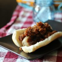 Bacon Jam over Sweet Apple Chicken Sausages