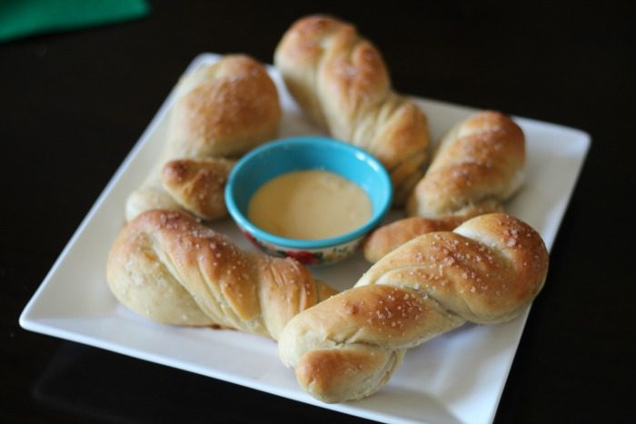 Soft Baked Pretzel Twists with Beer Cheese