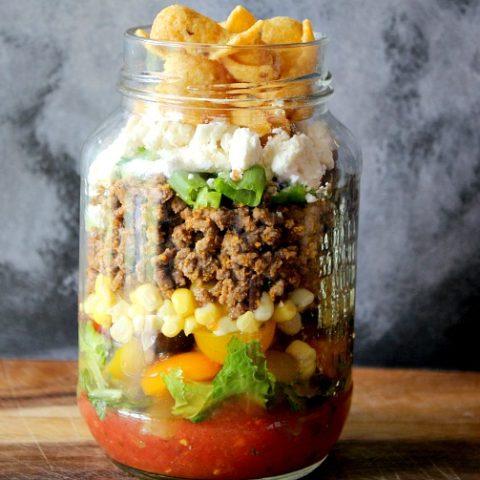 Layered Taco Salad in a Jar