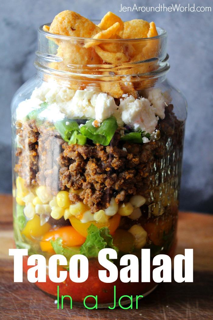 Layered Taco Salad in a Jar - a perfect mason jar recipe