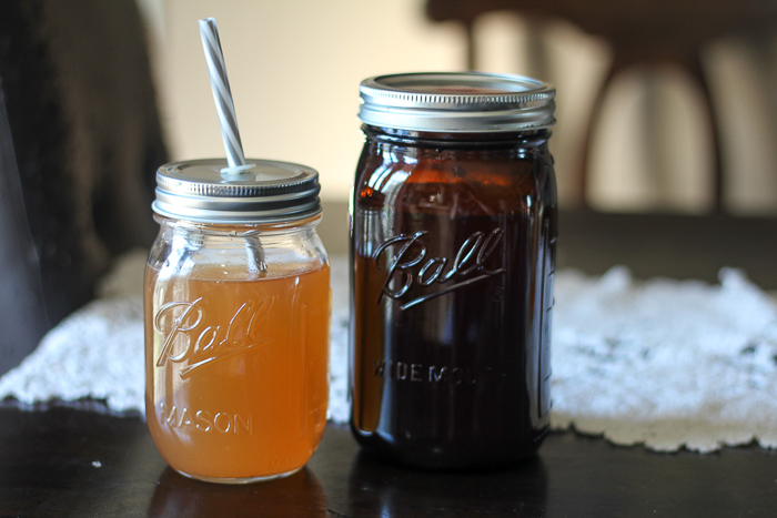Crockpot apple cider in Ball Amber Canning Jars