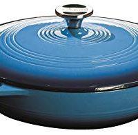 Lodge 3.6 Quart Cast Iron Casserole Pan. Blue Enamel Cast Iron Casserole Dish with Dual Handles and Lid (Carribbean Blue)
