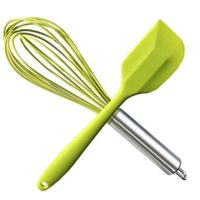 HauBee Kitchen Wire Balloon Silicone Whisk Set 600ºF Heat Resistant Non Stick Rubber Stainless Steel Seamless Design Baking Cooking Spatulas Tools (2 Pack,Green),