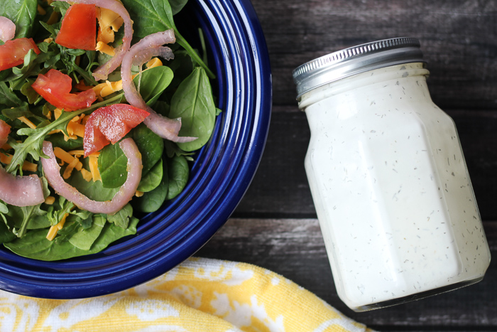 steakhouse salad with homemade ranch dressing