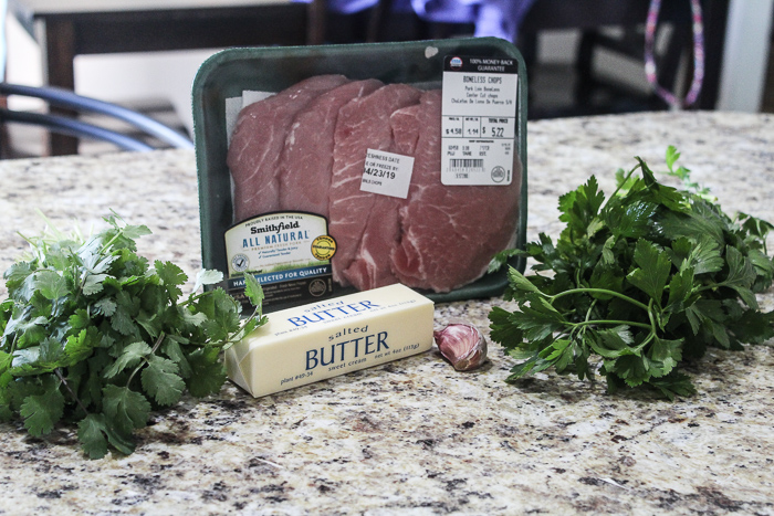 Grilled Pork Chops with Garlic Herb Butter