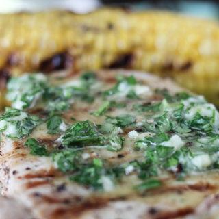Grilled Pork Chops with Garlic Herb Butter