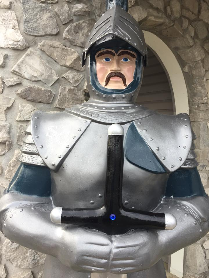 knight outside of the stone castle hotel