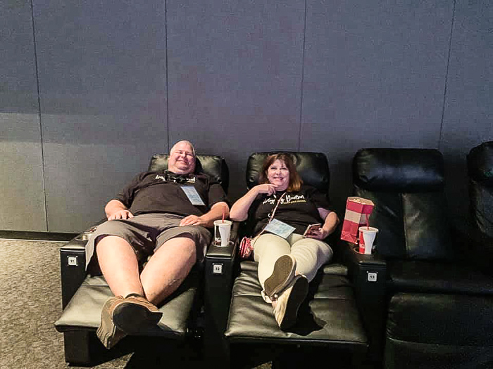 Jennifer and Stephen in reclining seats at Branson IMAX