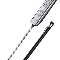 Habor Instant Read Digital Cooking, Candy Thermometer with Super Long Food Probe for Kitchen BBQ Grill Smoker Meat Oil Milk Yogurt Jam Water Temperature, Standard, Elegant Silver