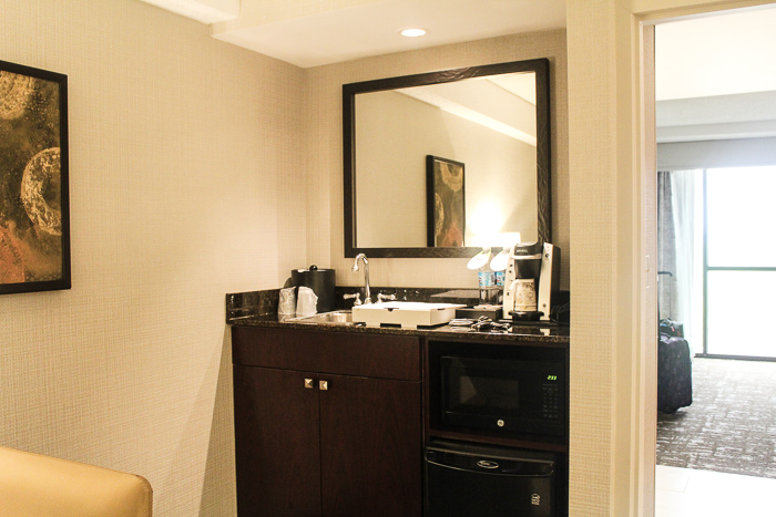 kitchenette area in suite