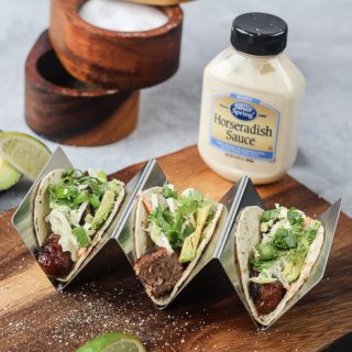 Grilled Brat Tacos with Lime Horseradish Slaw
