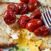 Egg in the Hole with Bursted Tomatoes (Perfect Mother's Day Brunch Idea)