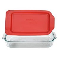 Pyrex Basics 3 Quart Glass Oblong Baking Dish with Red Plastic Lid -13.2 INCH x 8.9inch x 2 inch