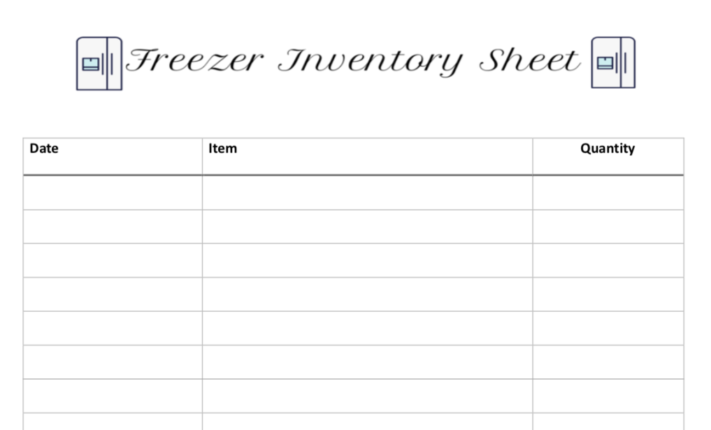 graphic about Freezer Inventory Printable known as Free of charge Printable Freezer Stock Sheet - Jen In close proximity to the Global