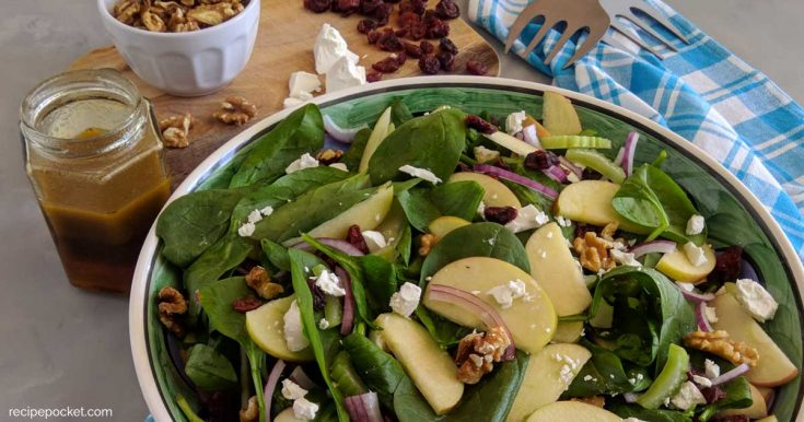 Healthy Spinach Apple Walnut Salad with Orange Vinaigrette Dressing